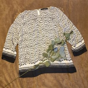 3/4 Sleeve Patterned Blouse